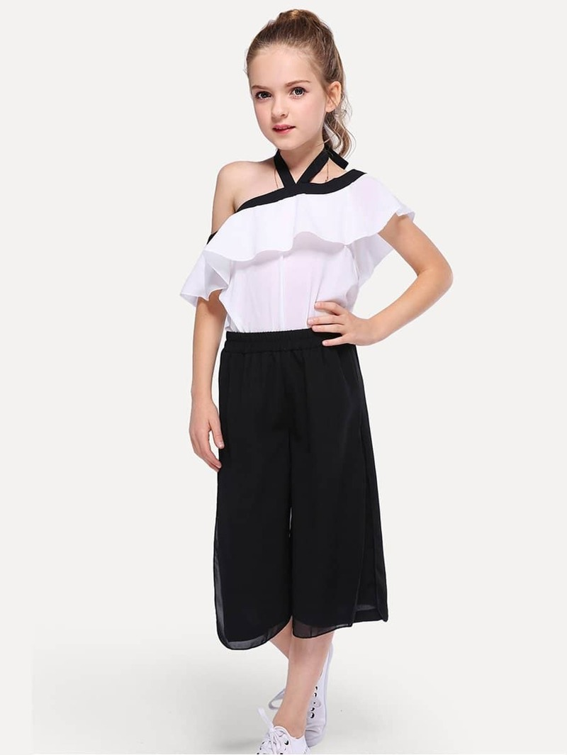 Girls Ruffle Trim Halter Top With Pants, Black and white