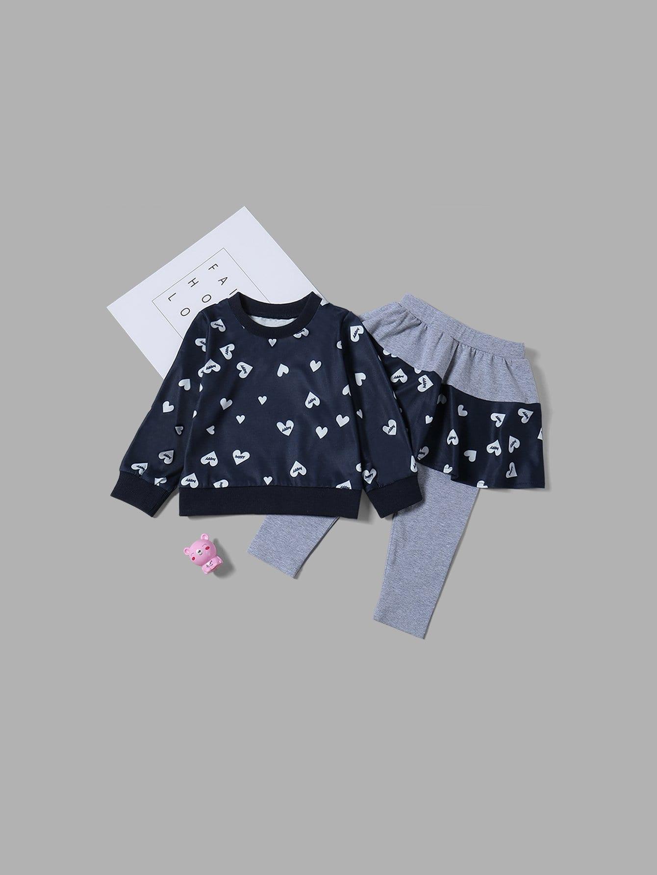 Купить Блуза с рисунками сердца и буквы и брюки для девочки, null, SheIn
