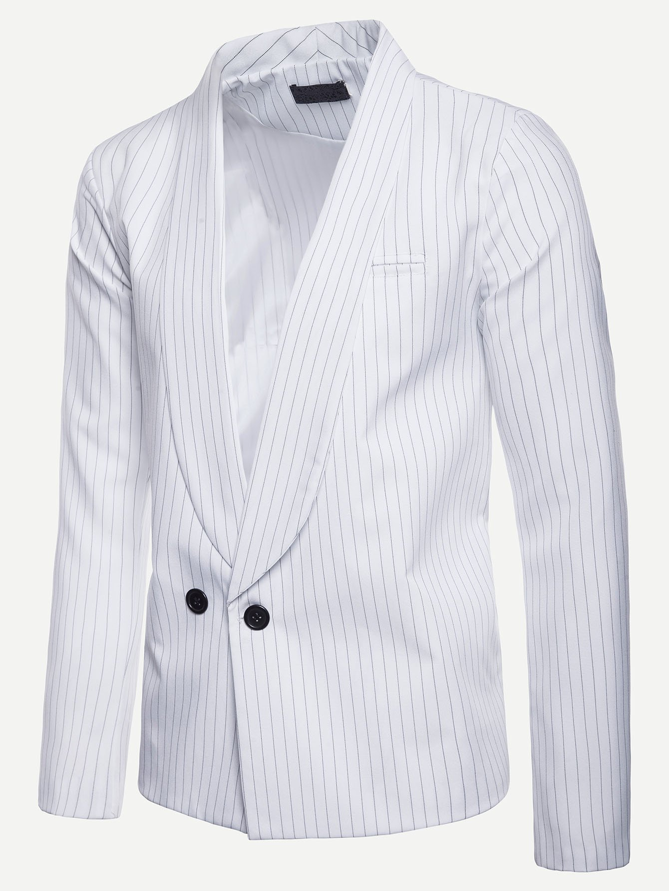 цена Men Striped Double Button Blazer