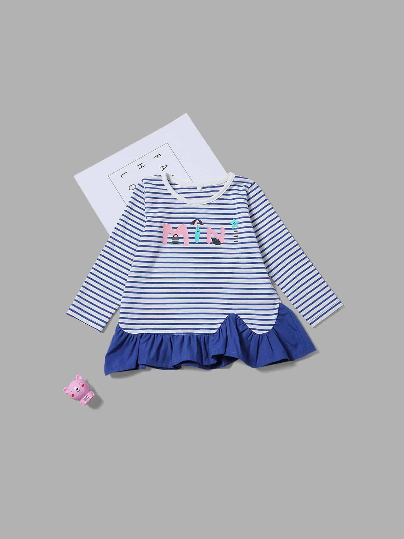 Girls Ruffle Hem Striped Letter Print Blouse