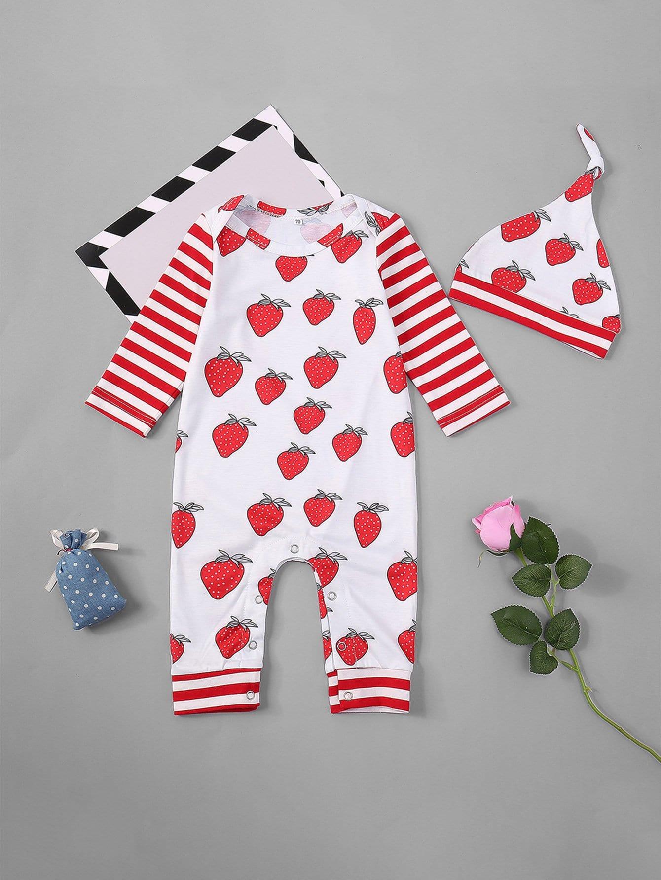 Girls Strawberry Print Jumpsuit