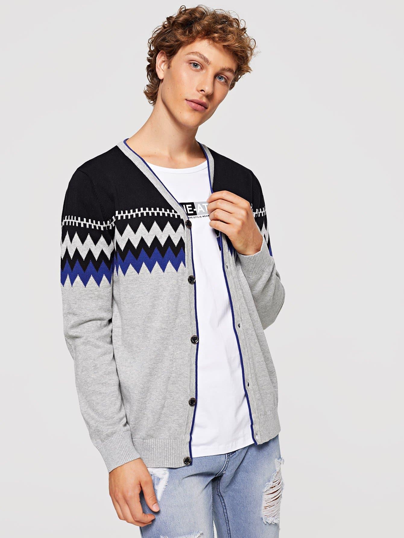 Männer Mantel mit Farbblock und Geo Muster