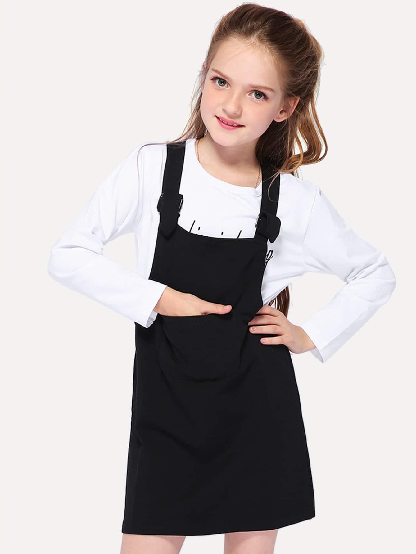 Купить Футболка с рисунками буквы и простое платье для девочки, null, SheIn