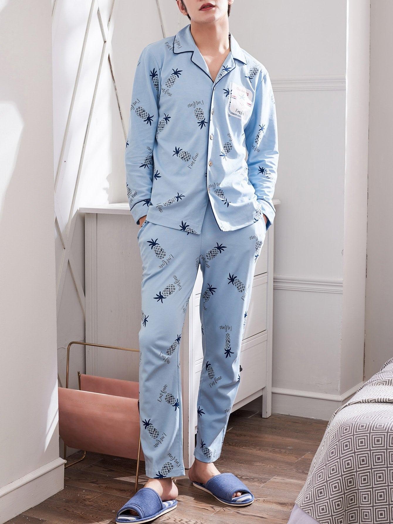 Купить Комплект пижамы с рисунками ананасов и с украшением пуговицы для мужчины, null, SheIn