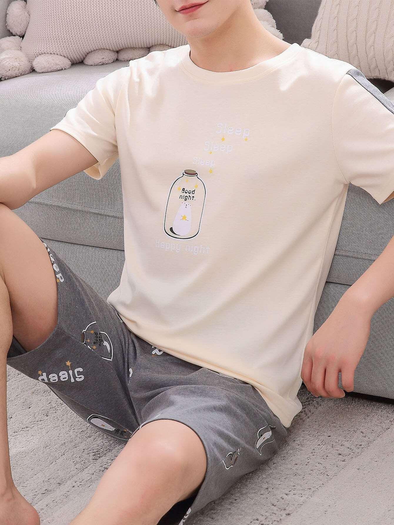 Купить Комплект пижамы с рисунками медведя и буквы для мужчины, null, SheIn