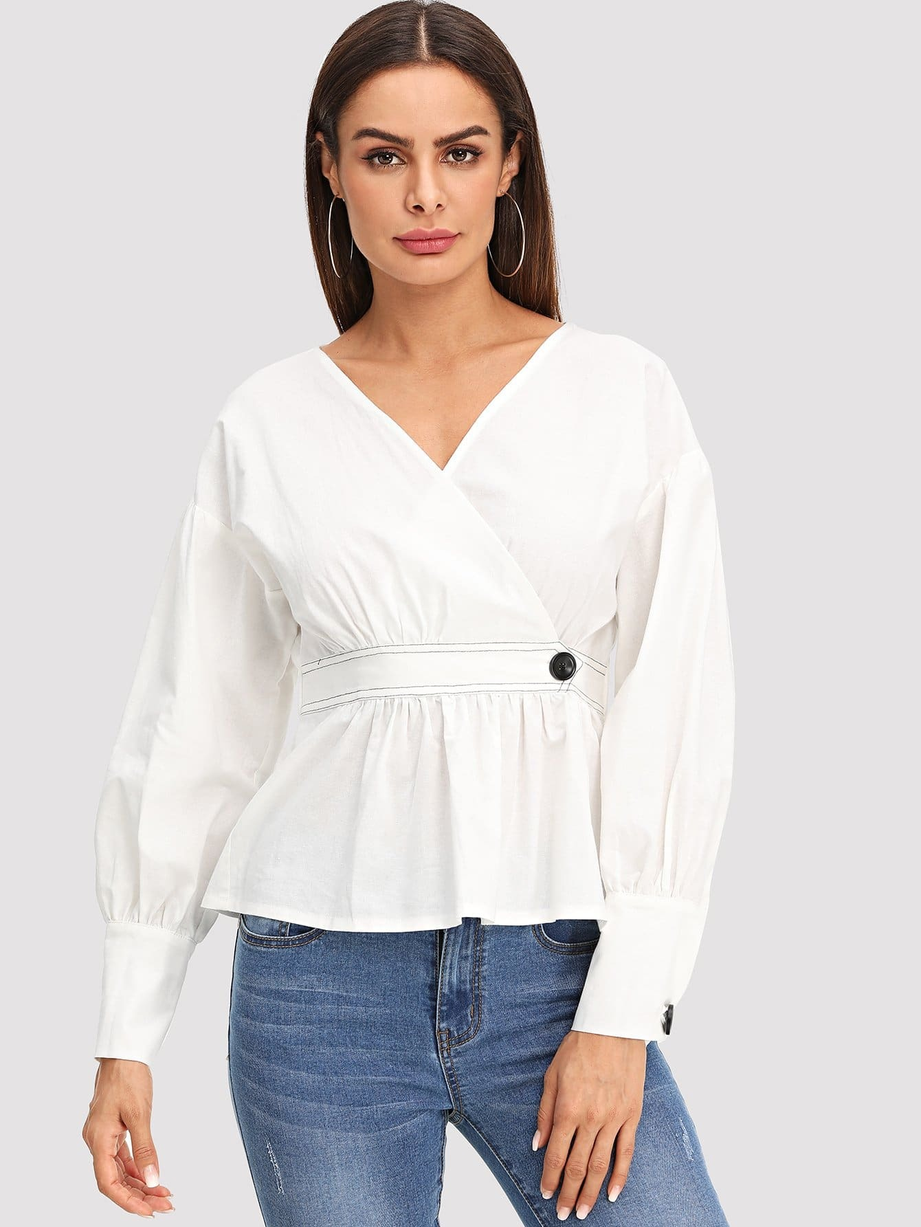 Surplice Front Solid Top