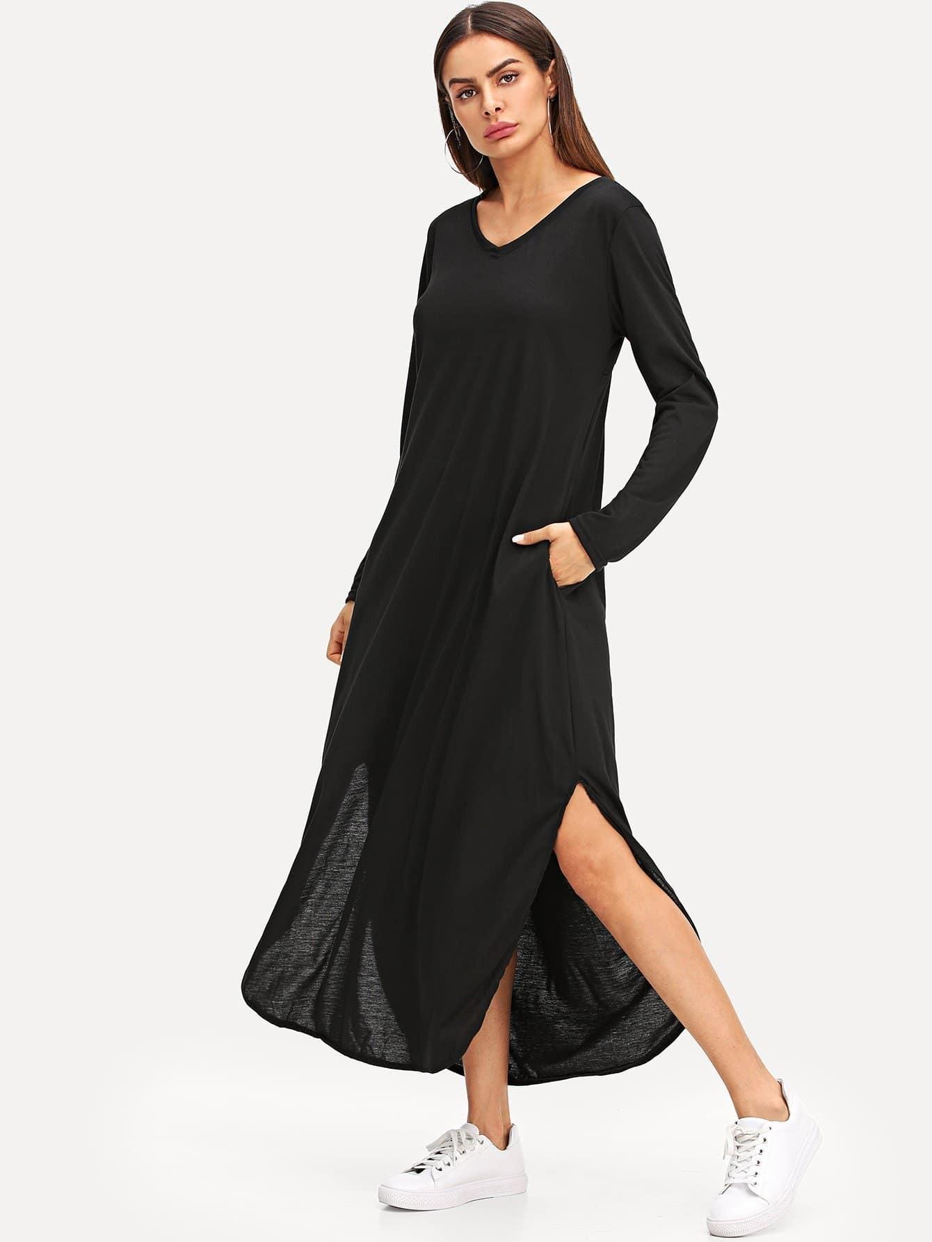 Купить Разделение платье с v-образным вырезом, Andy, SheIn