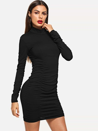 SheIn / High Neck Solid Skinny Dress