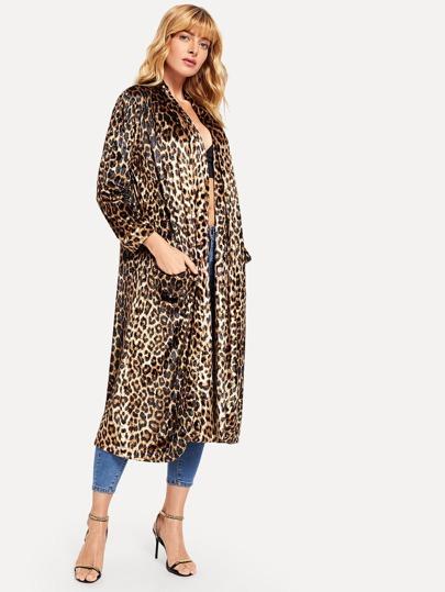 Romwe / Leopard Print Longline Coat
