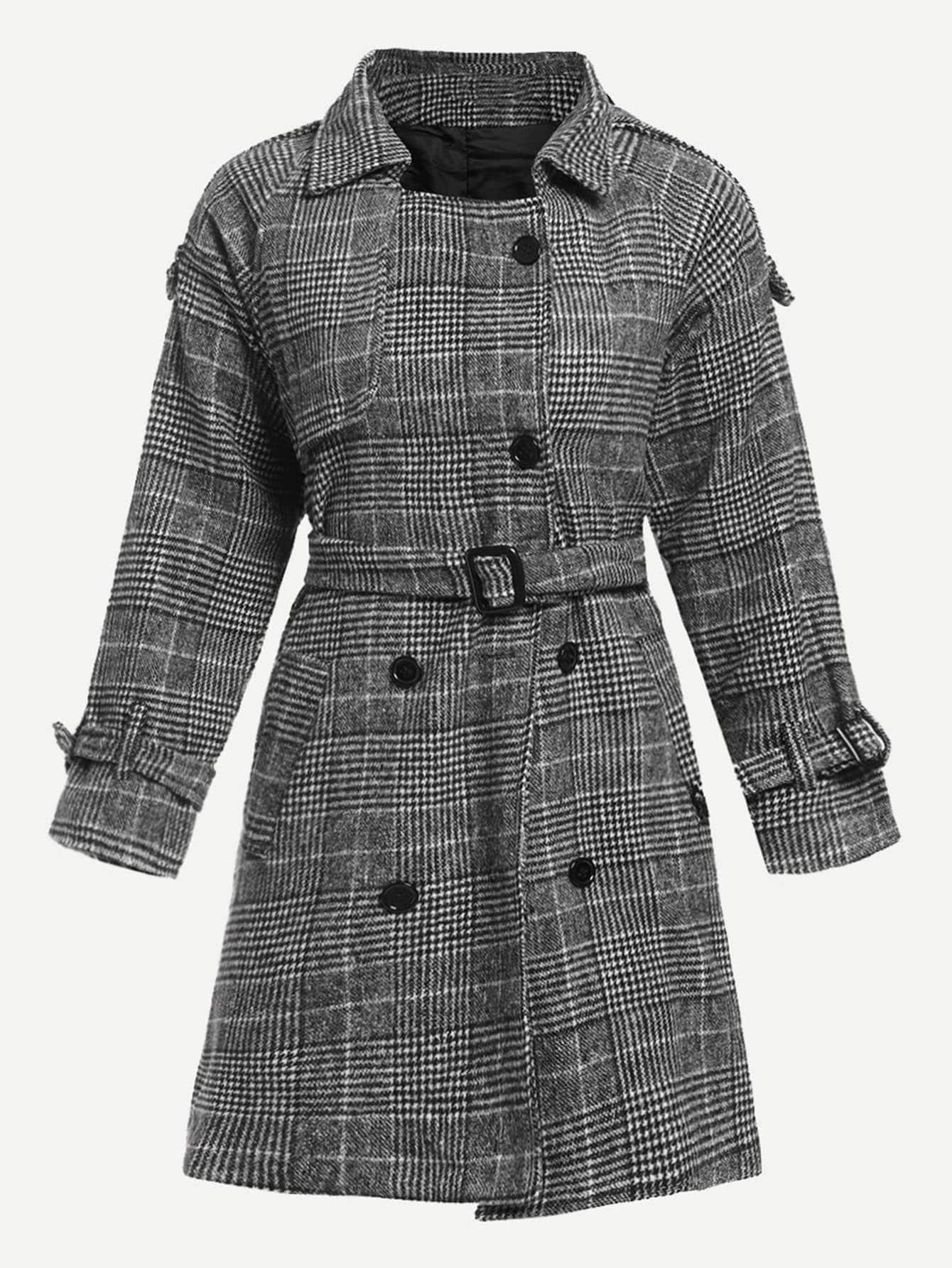Купить Пальто в клетку и с украшением пуговицы, null, SheIn