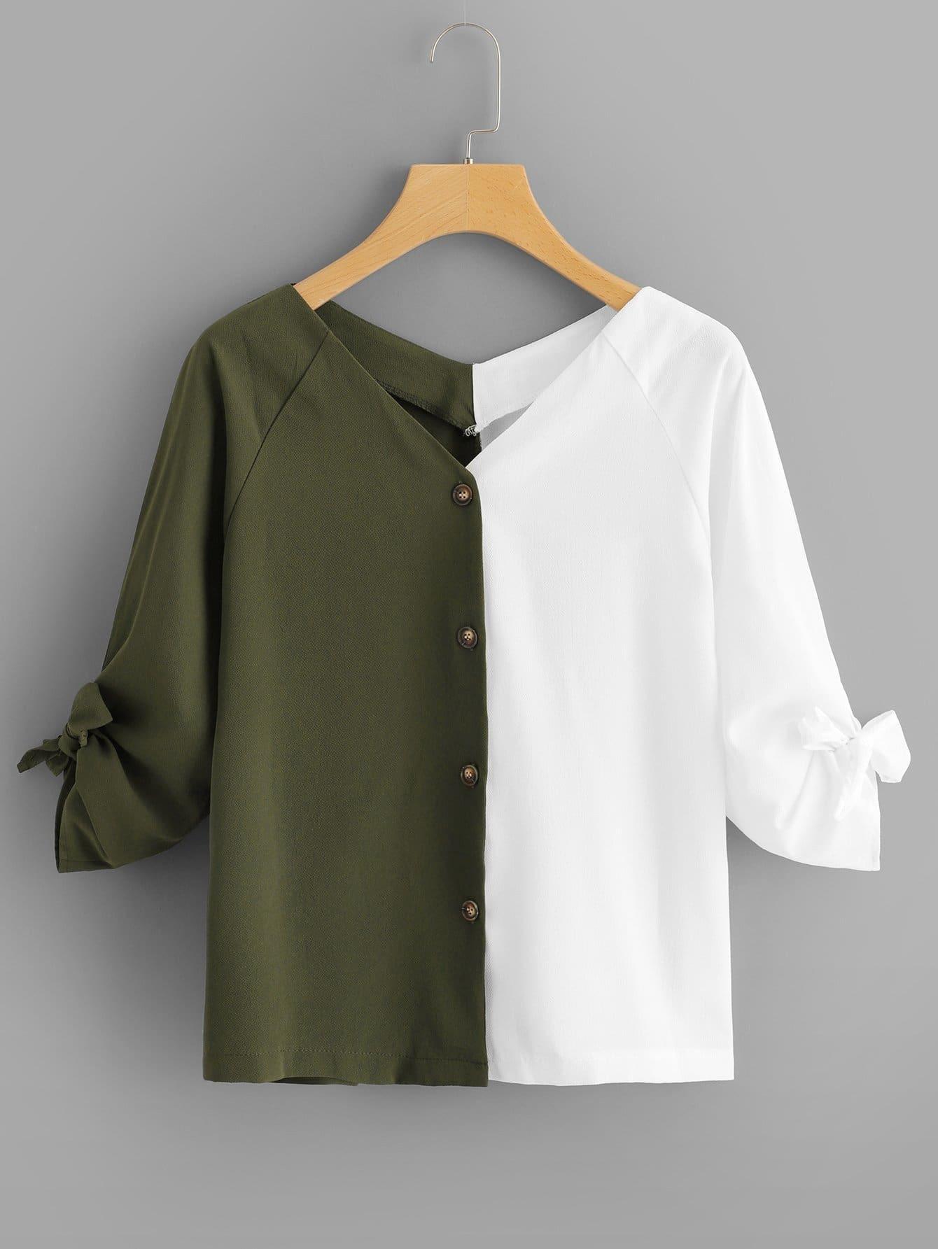 Купить Цветная кусковая рубашка и с украшением банта, null, SheIn