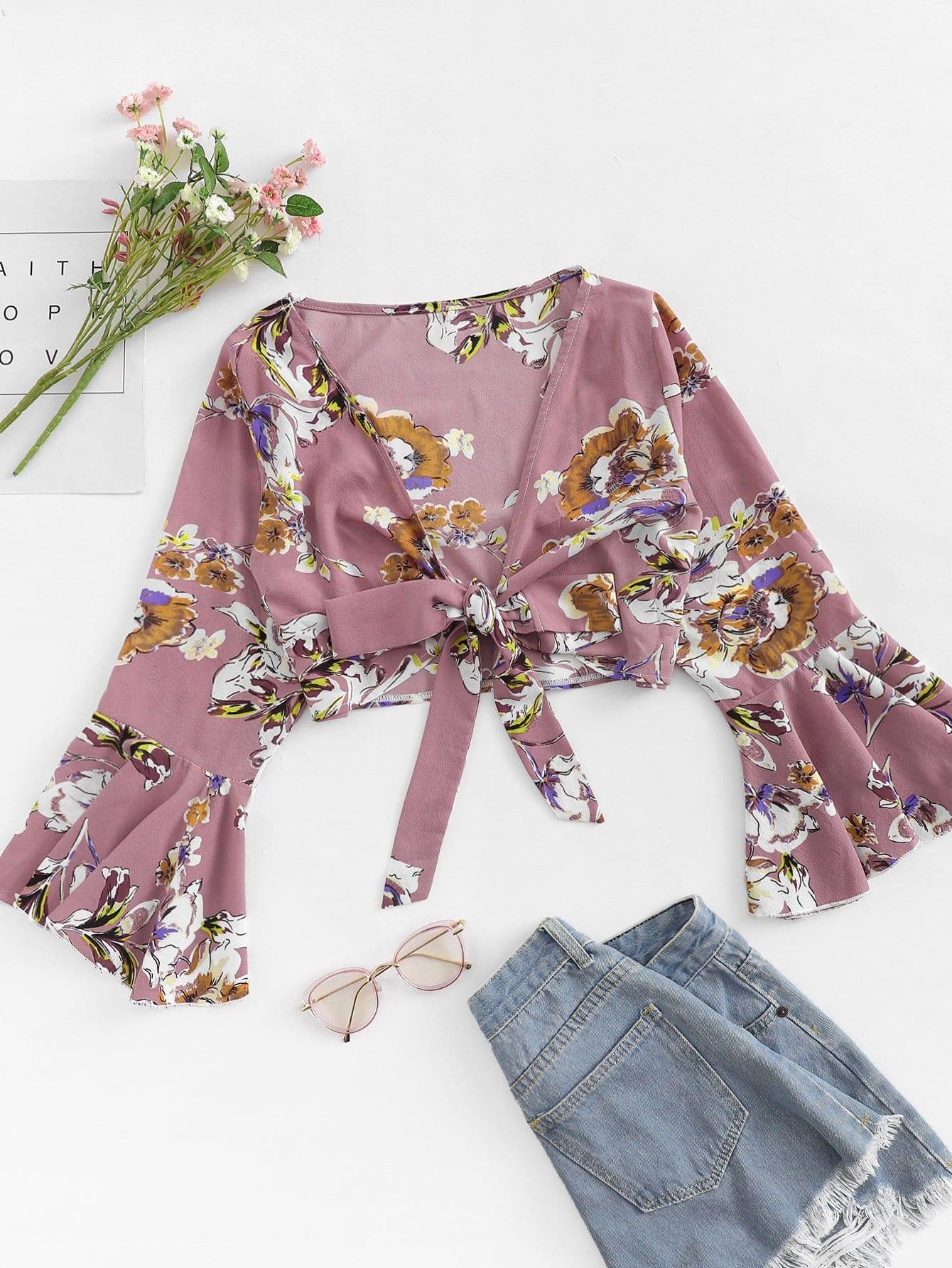 Floral Print Flounce Sleeve Knot Blouse