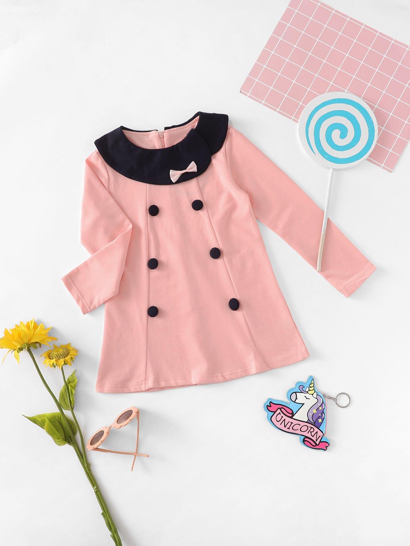 Girls Button Detail Dress