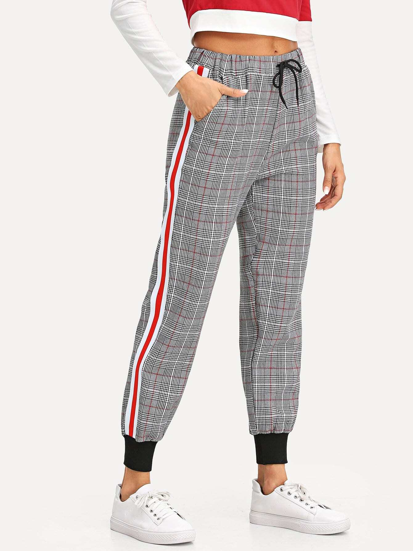 Drawstring Waist Striped Side Checked Pants