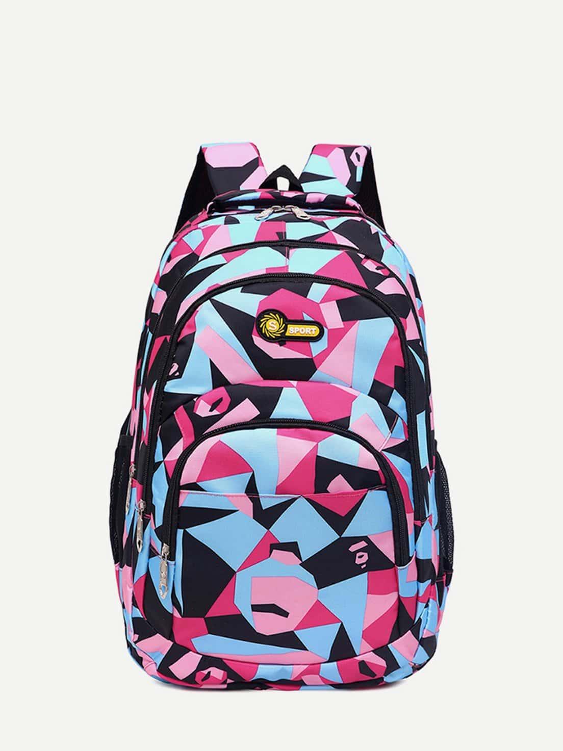Patchwork Side Mesh Pocket Backpack