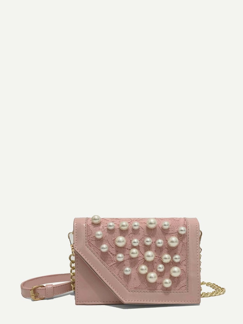 Faux Pearl Decor Flap Bag, Pink