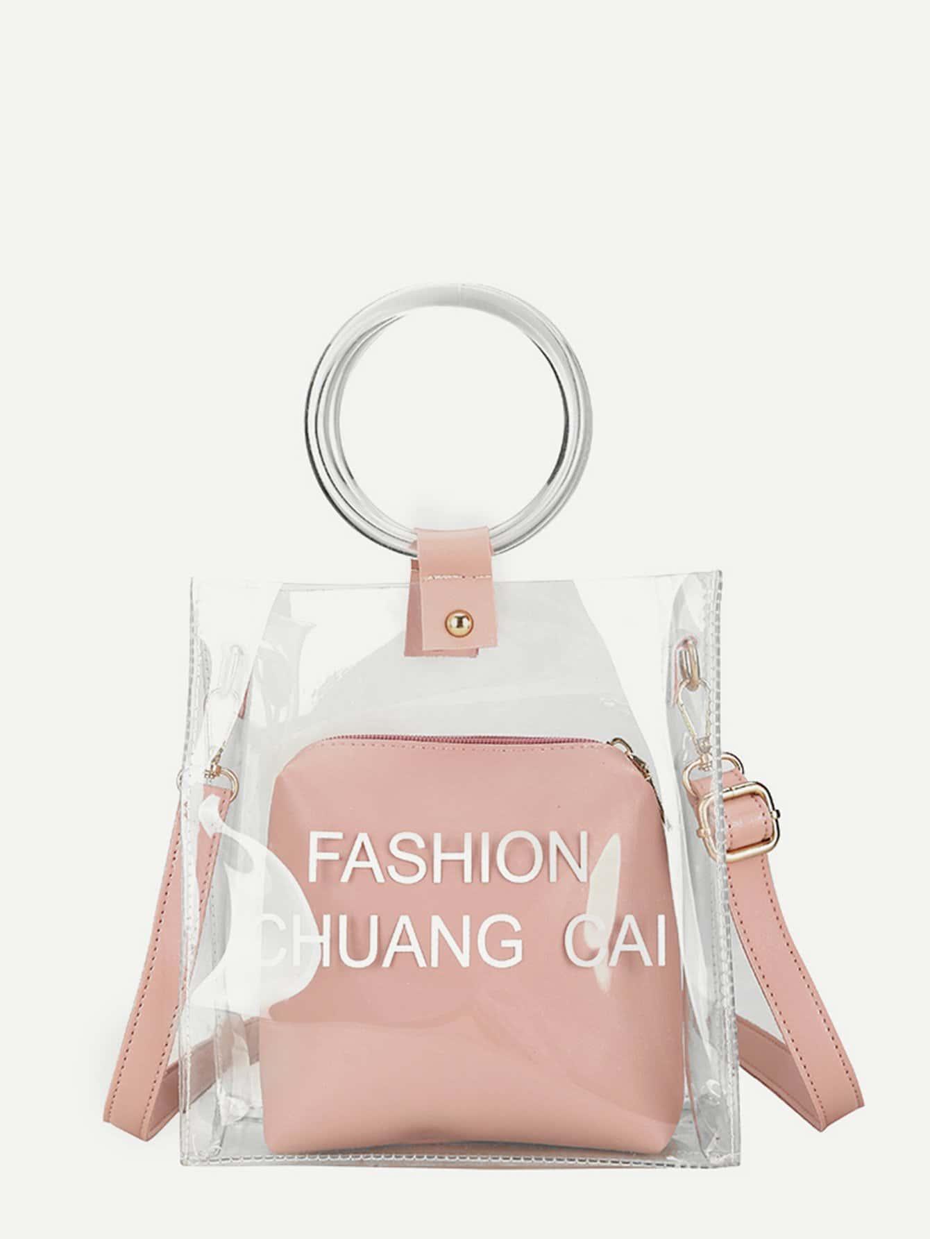 Купить Прозрачная сумка с внутренной сумкой, null, SheIn