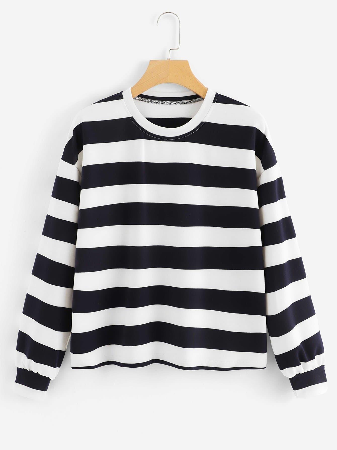 Sweatshirt mit sehr tief angesetzter Schulterpartie und Streifen