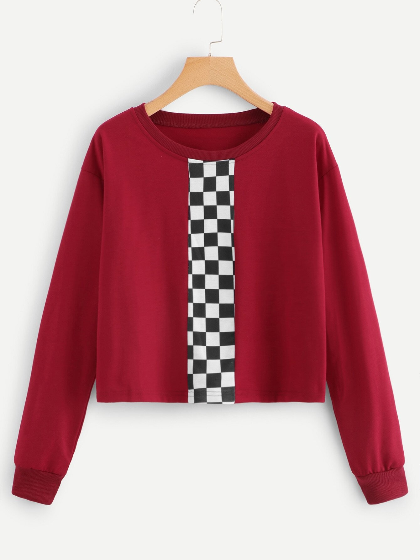 Cut And Sew Panel Checkerboard Print Sweatshirt