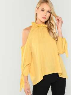 Ruffle Detail Tie Neck Solid Top