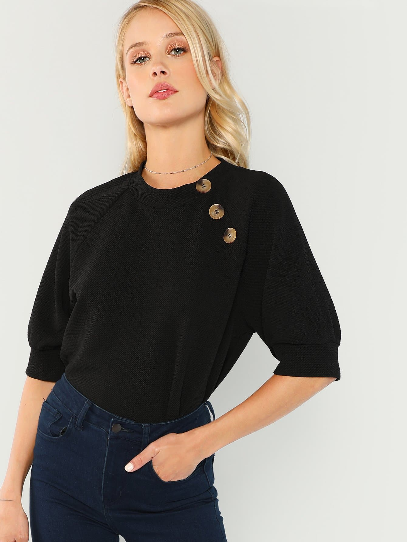 Купить Блузка с рукавами Raglan и с украшением пуговицы, Allie Leggett, SheIn