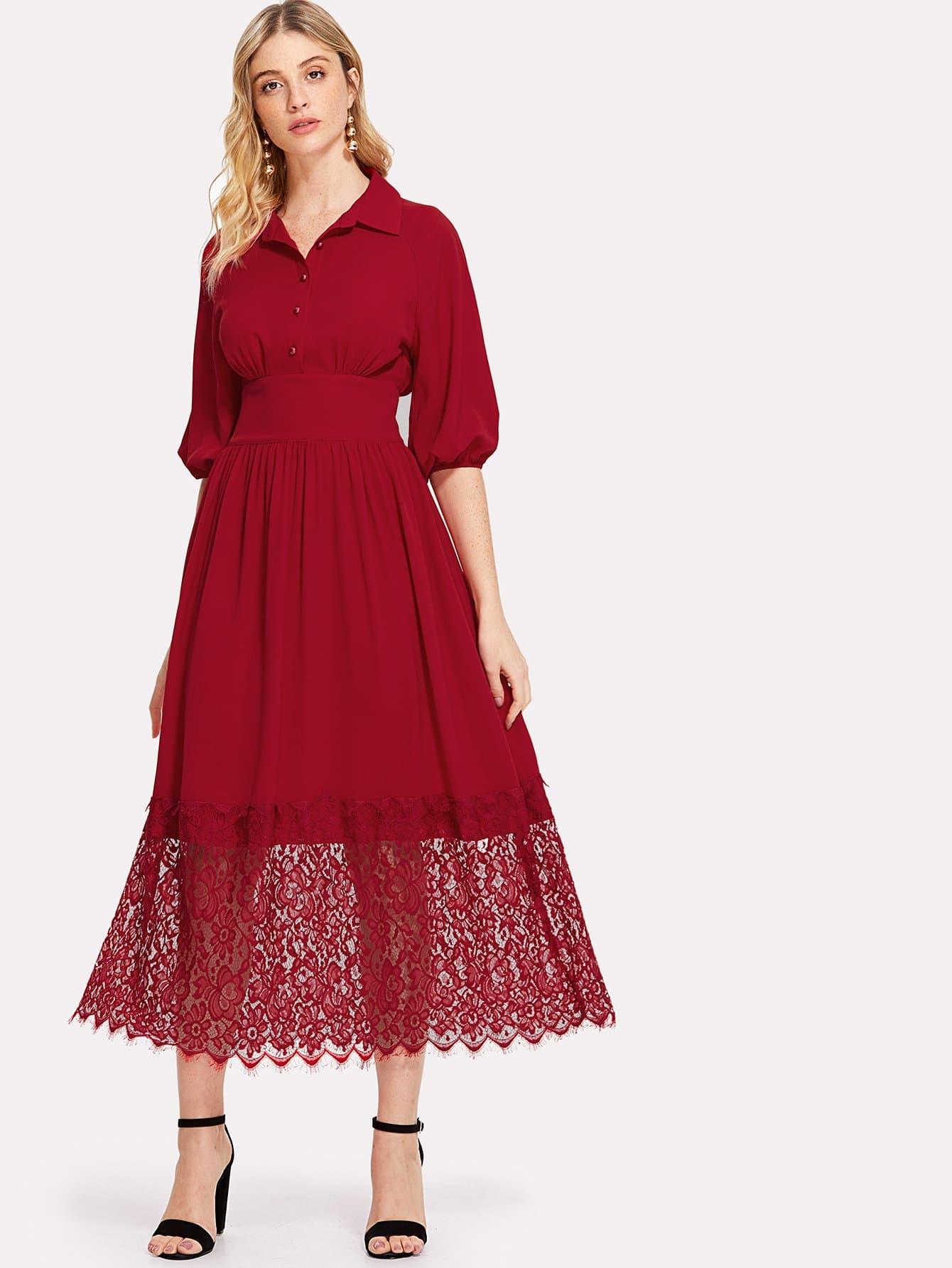 Купить Стильное платье с воротником и кружевным низом, Nathane, SheIn