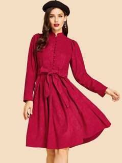 Button Front Flare Dress