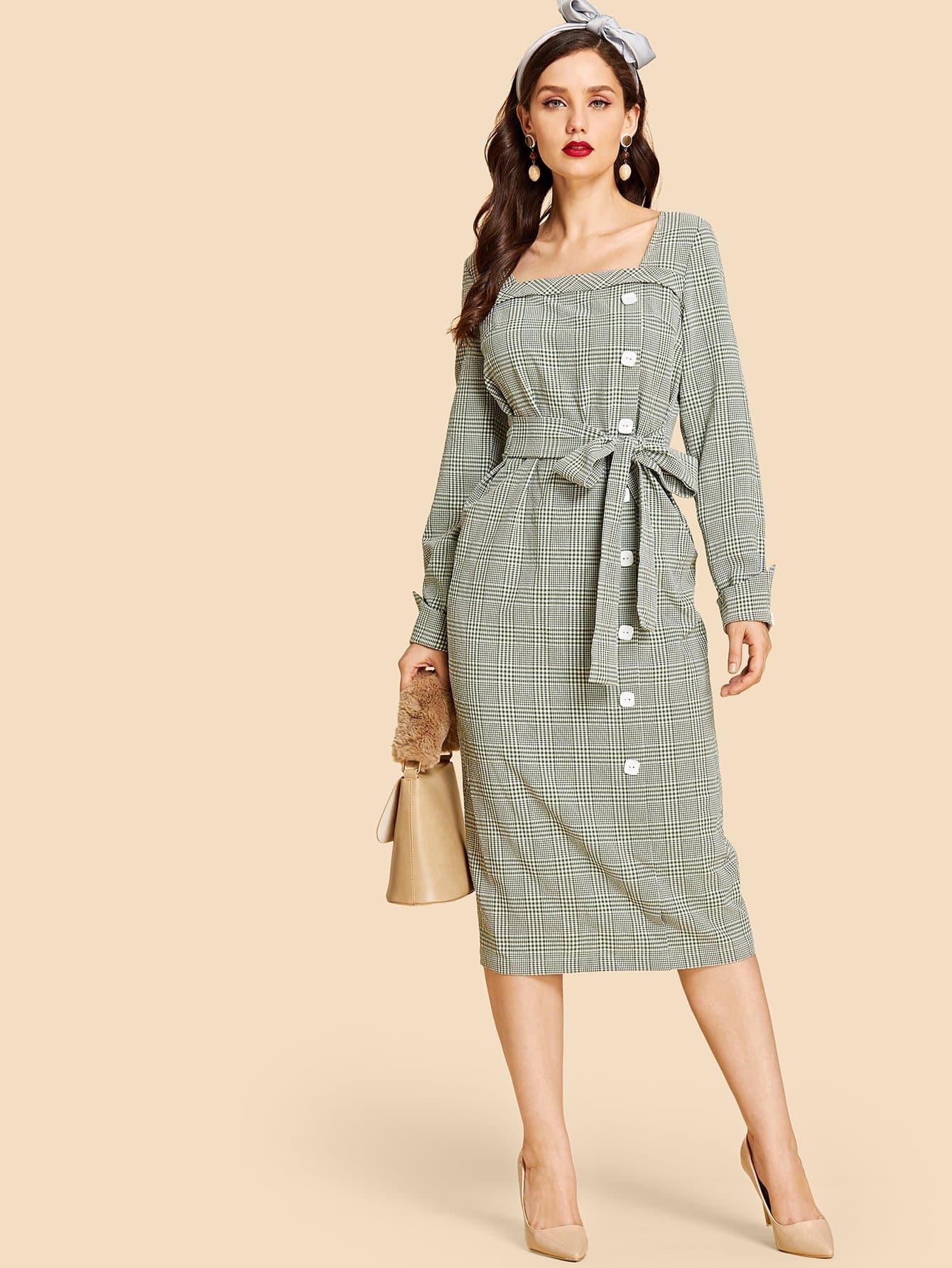 Купить Платье в клетку и с украшением пуговицы и с застёжкой молния сзади одежды, Julie H., SheIn