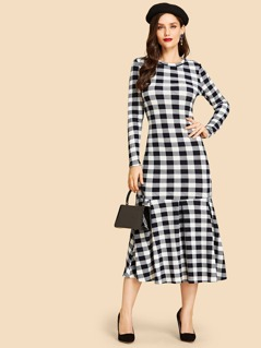 Gingham Print Flounce Hem Dress