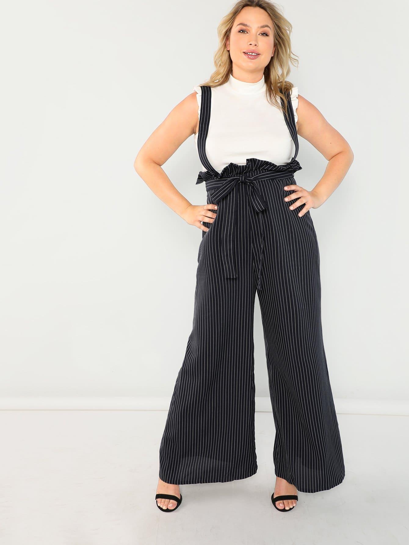 Купить Плюс размеры ремень широкие полосатые брюки, Sydney Ness, SheIn