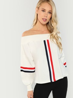 Off Shoulder Striped Trim Sweatshirt