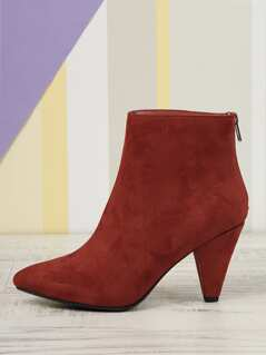 ba459e54d885 Faux Suede Pointed Toe High Heel Booties
