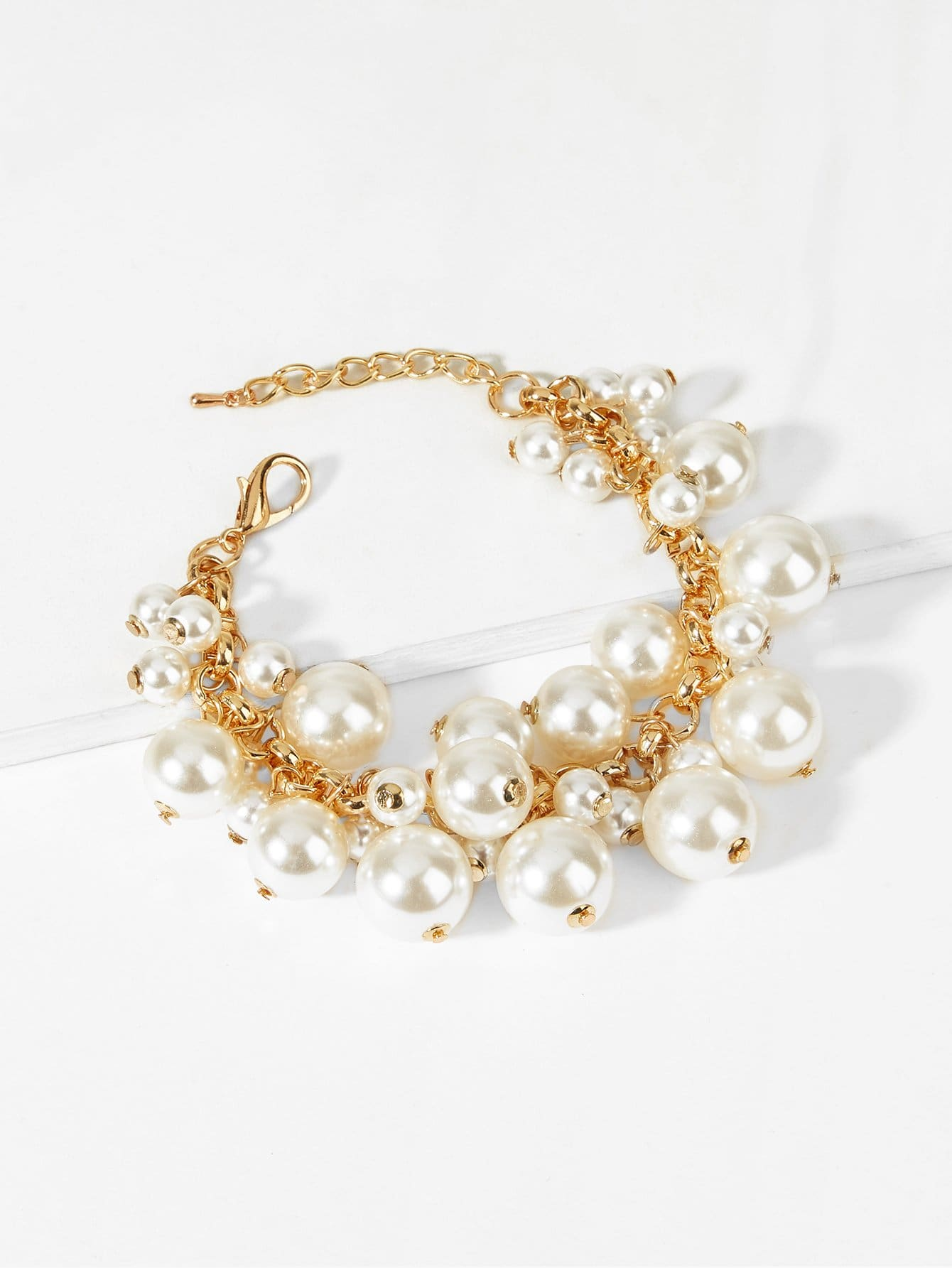 Faux Pearl Decorated Chain Bracelet
