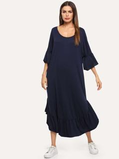 Ruffle Hem Bell Sleeve Solid Dress