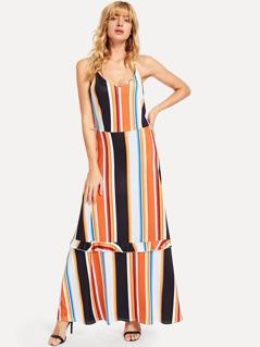 Cut And Sew Frilled Stripe Cami Dress