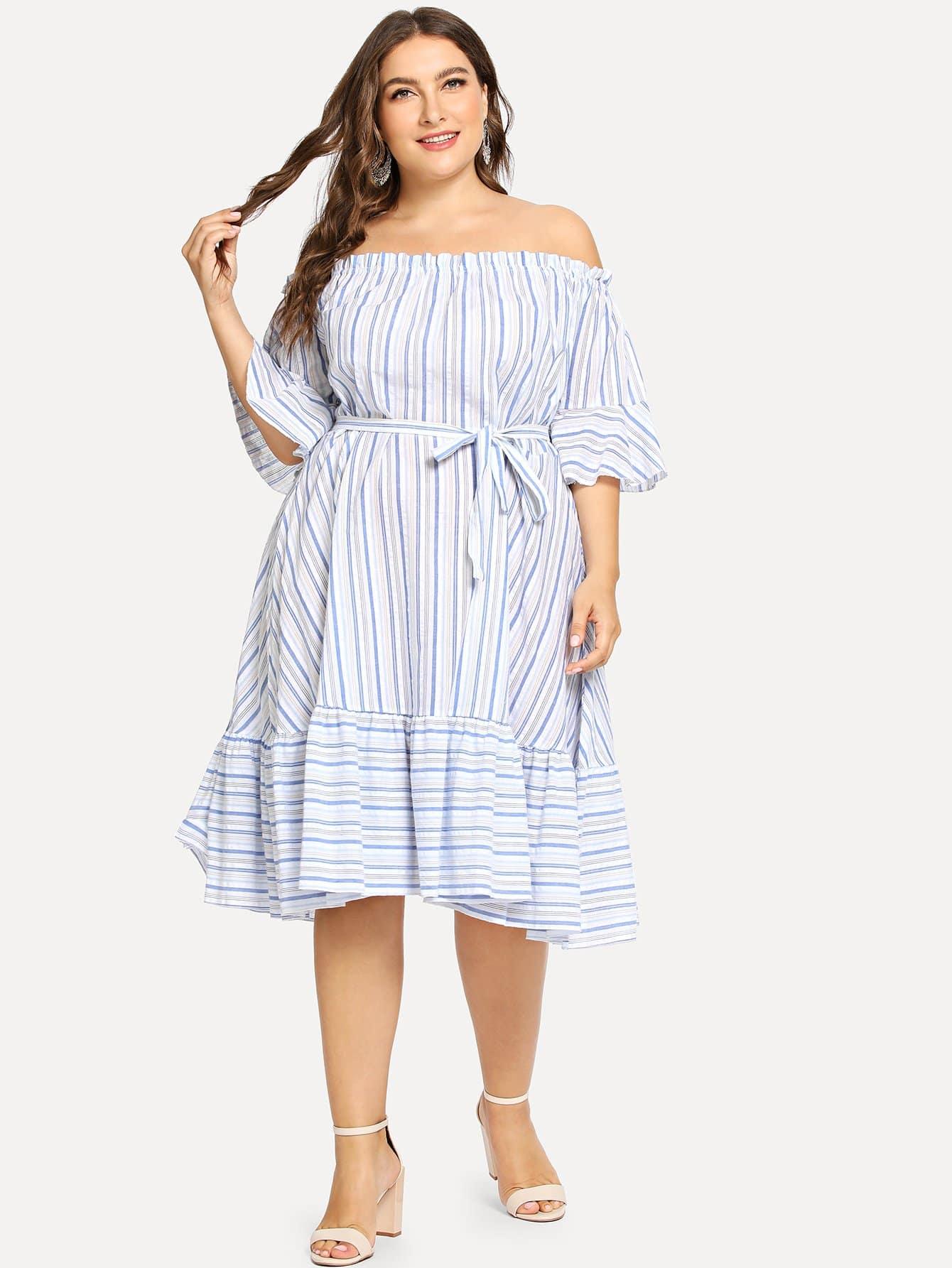 Купить Плюс Ruffle Trim Belted Striped Bardot Dress, Franziska, SheIn