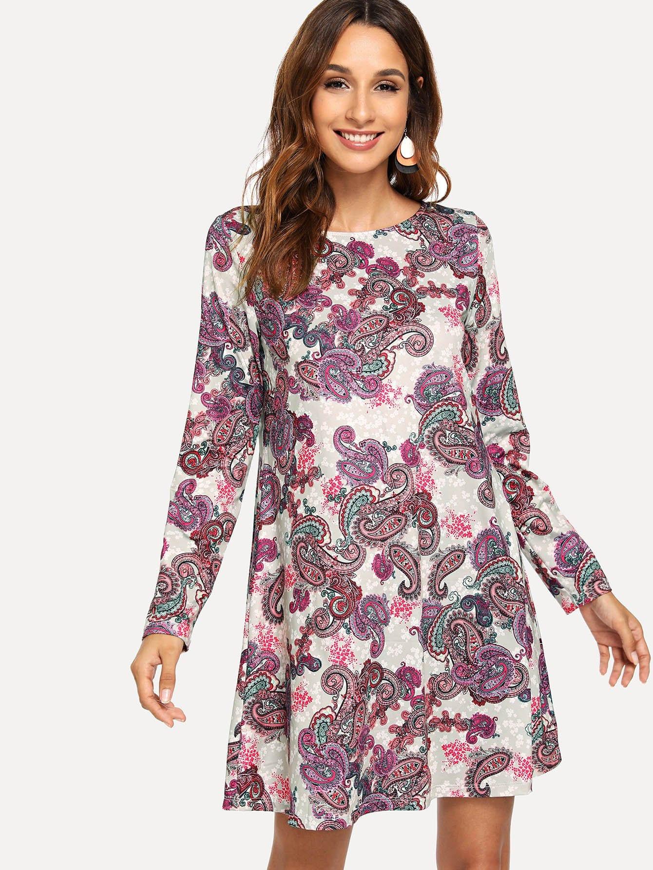 Купить Нарядное ситцевое платье с круглым воротником, Gabi B, SheIn