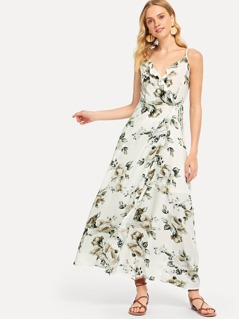 Ruffle Trim V-Back Flora Wrap Dress