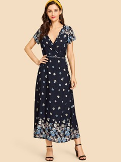 Calico Print Surplice Wrap Dress