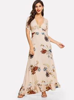 Plunging Neck Ruffle Hem Flower Print Dress