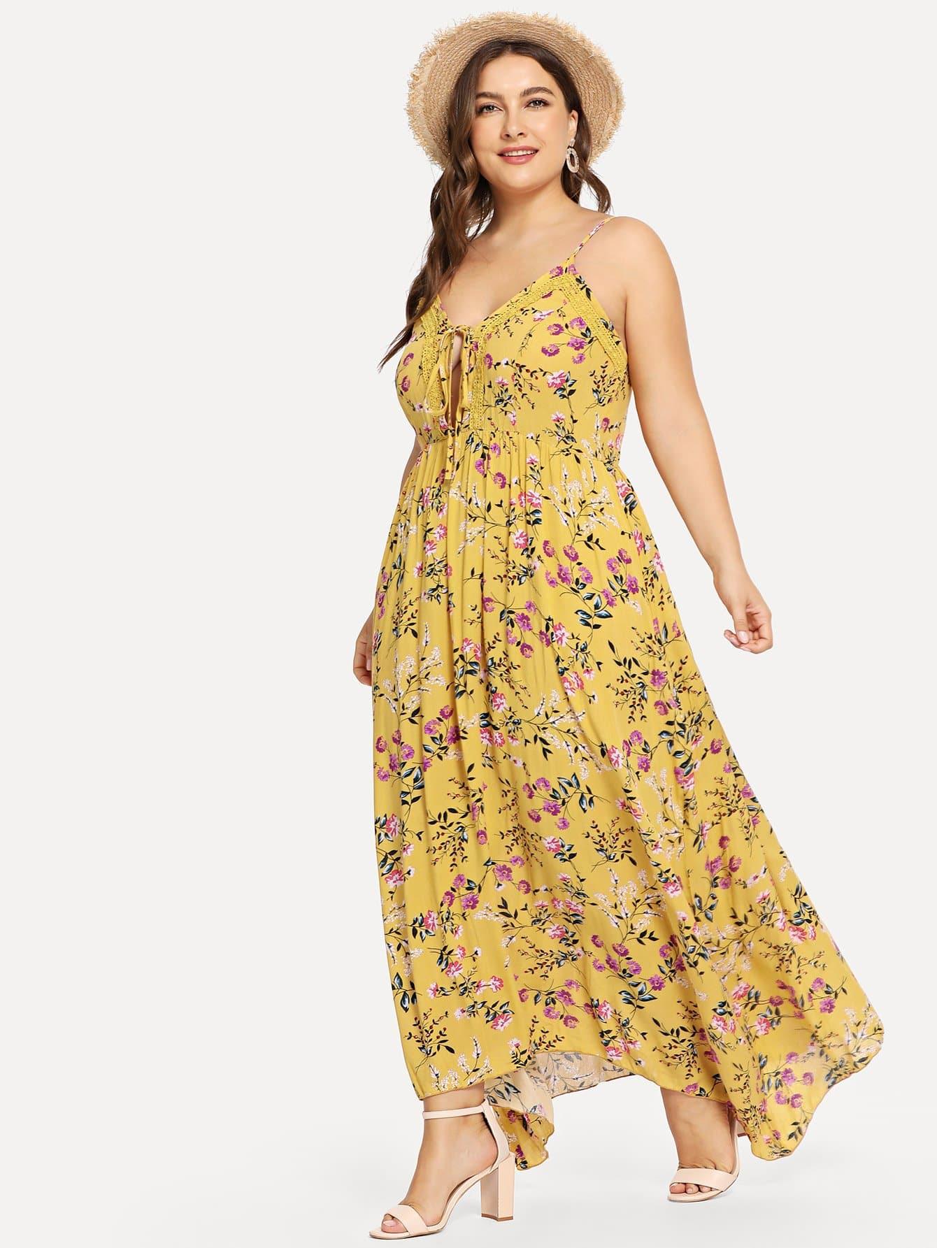 Купить Плюс размеры цветочное Cami платье с глубоким вырезом, Franziska, SheIn