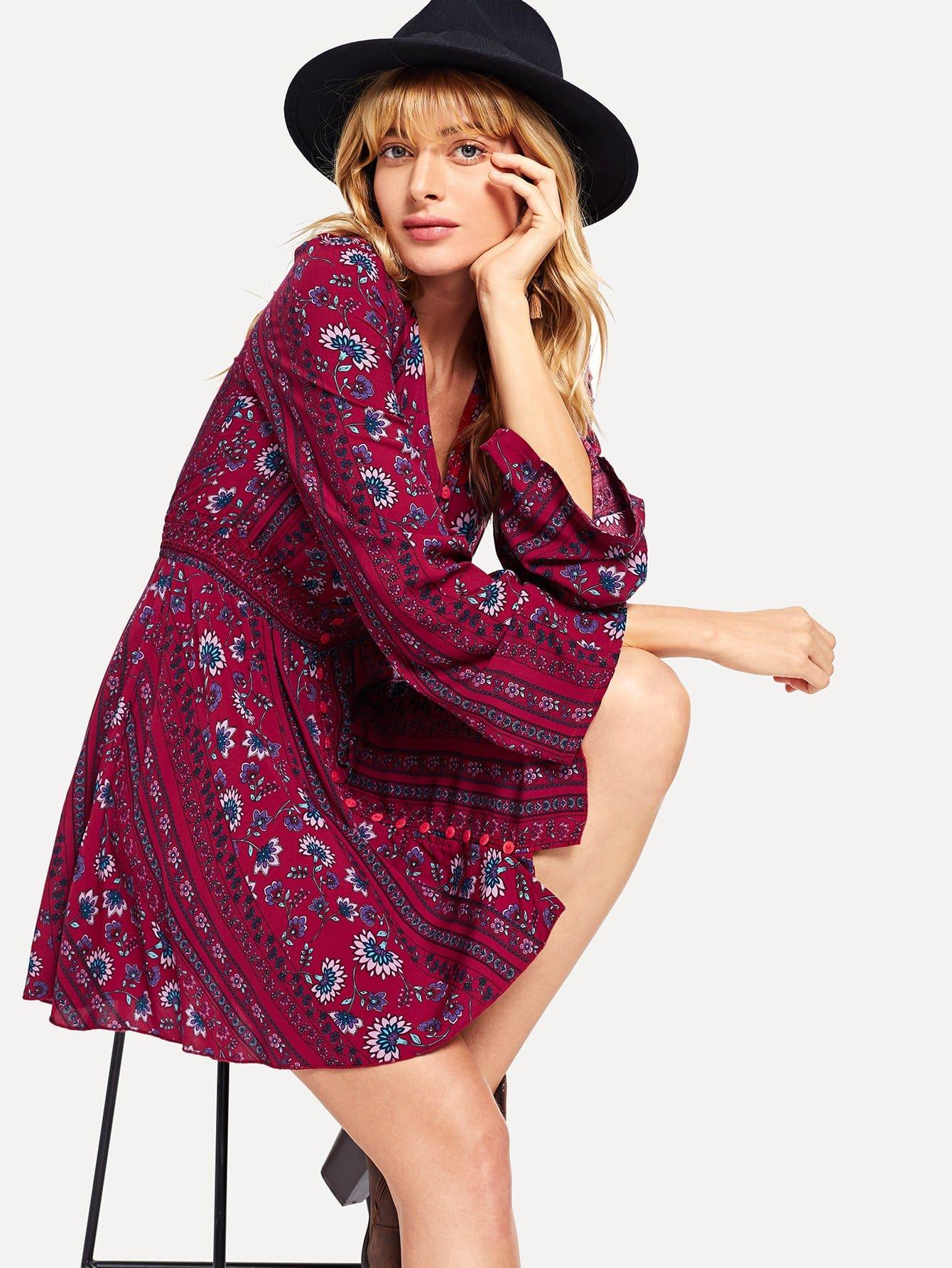 Купить Талия Упругие кнопки Фронт платье, Masha, SheIn
