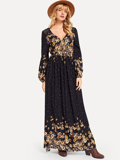 Lantern Sleeve Mixed Print Dress