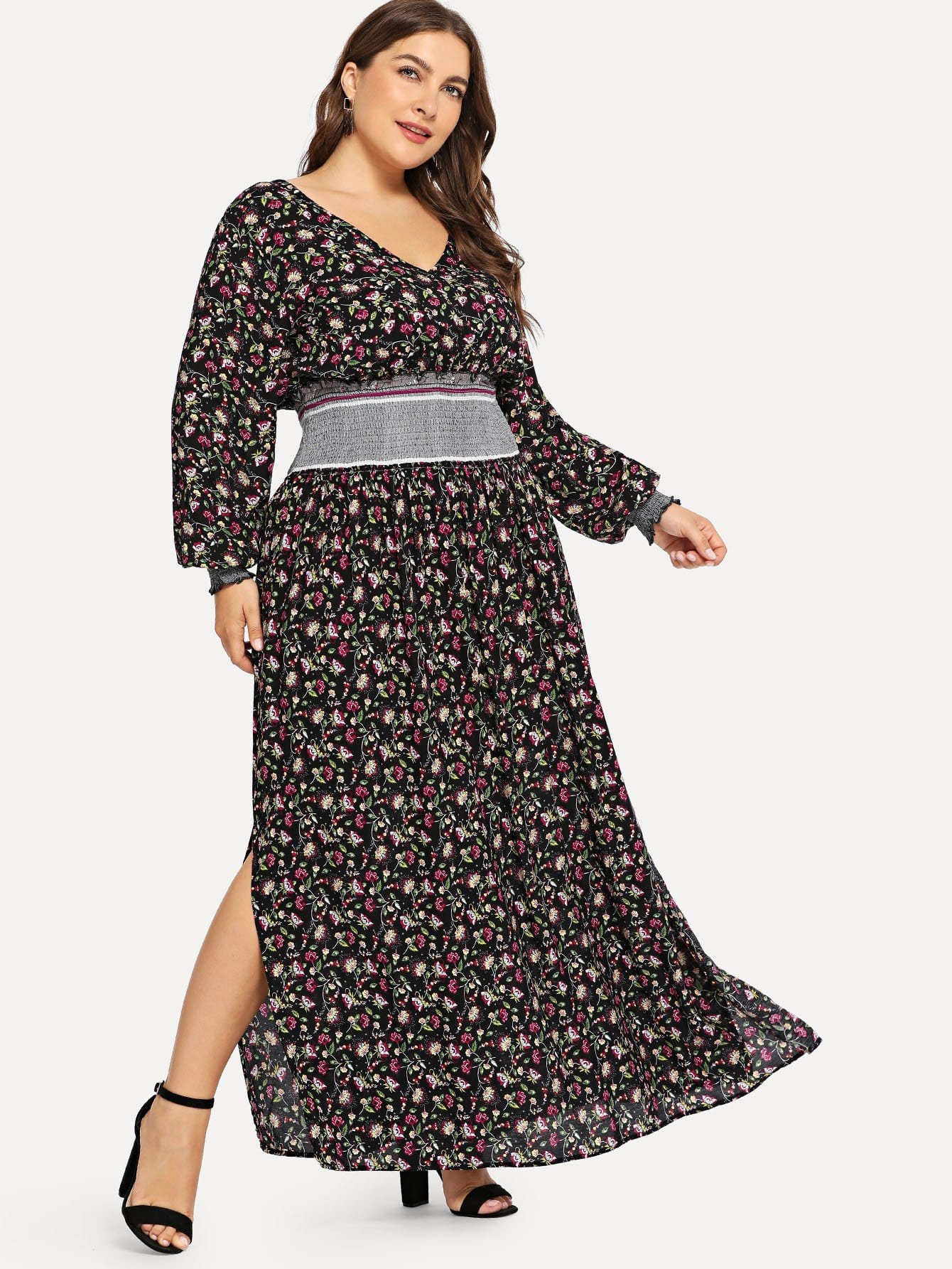 Купить Плюс Daisy Print Shirred Waist Dress, Franziska, SheIn