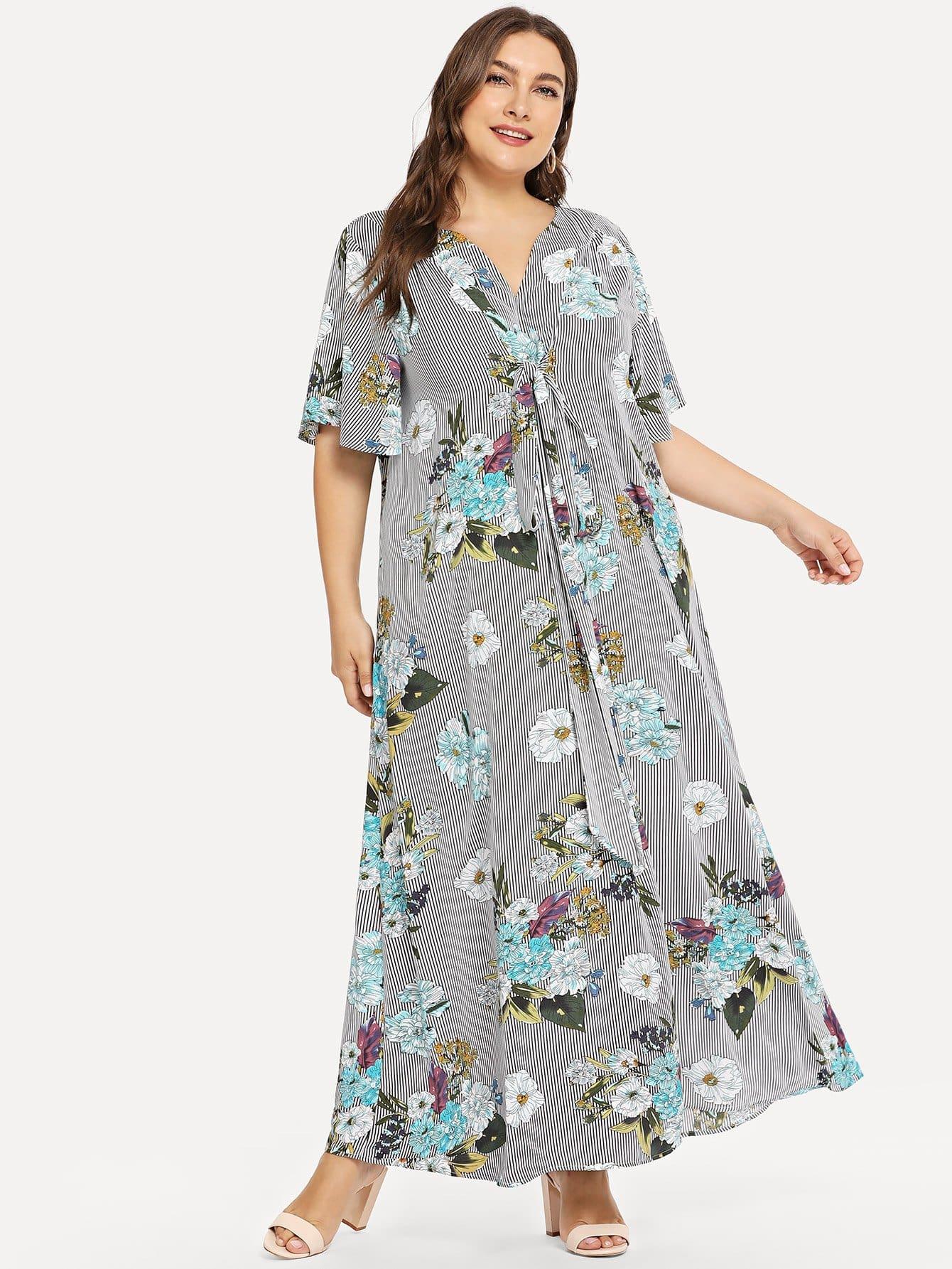 Купить Плюс широкое полосатое платье и полосатое платье, Franziska, SheIn