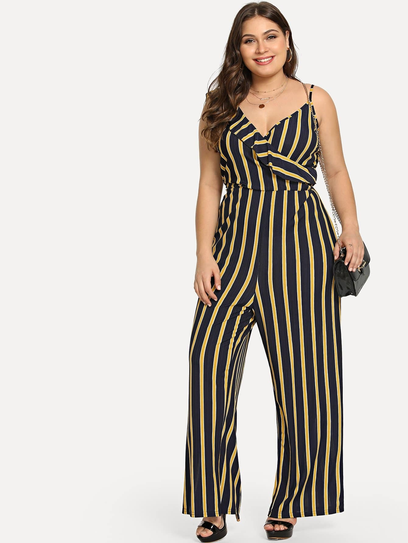 Плюс Ruffle Detail Striped Cami Jumpsuit