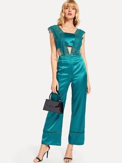 Guipure Lace Overlay Bodice Wide Leg Jumpsuit