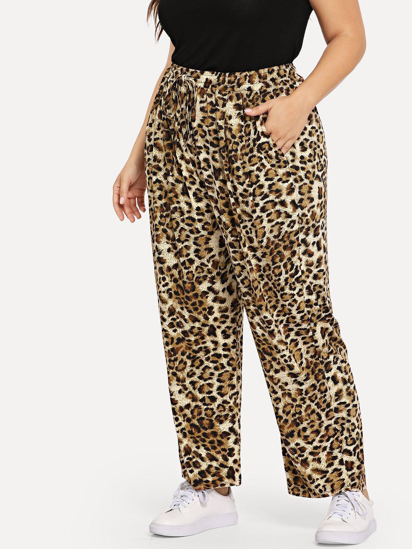 Купить Большие леопардовые брюки и с украшением полосы по обе стороны, Franziska, SheIn