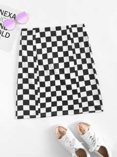 O-Ring Zip Embellished Checked Print Skirt