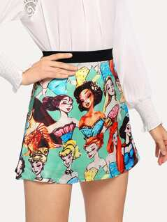 Wide Waistband Barbie Print Skirt